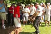 Golf Ball Lands In Spectator's Pocket