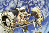 Russian Cosmonauts 'Walking' Outside The International Space Station