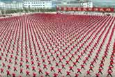 Thousands Of Kung Fu Students - Aerial Footage